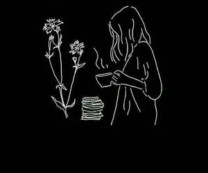 wallpaper, black, and flowers image