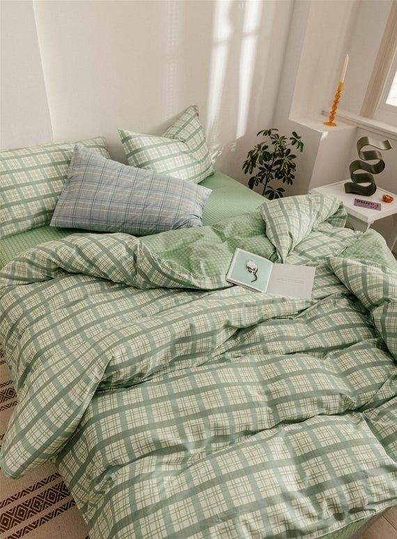 bedroom, green, and decor image