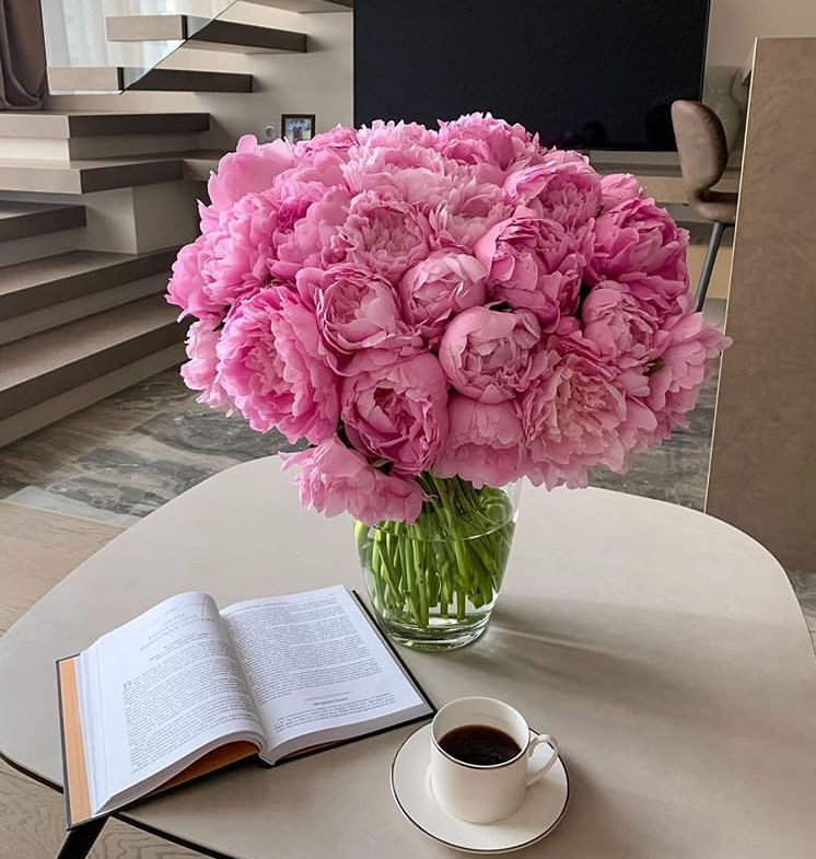 flowers, coffee, and peonies image