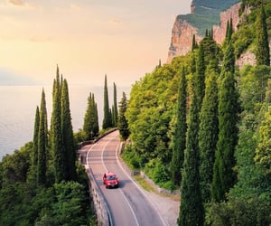 beautiful places, red car, and adventure travel image