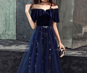 blue dress, fashionista, and outfit image