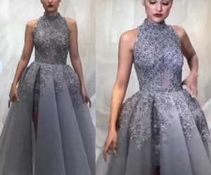 evening gown, gray prom dresses, and high neck prom dress image