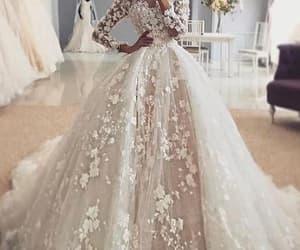 princess wedding dress, boho wedding dresses, and floral wedding dresses image