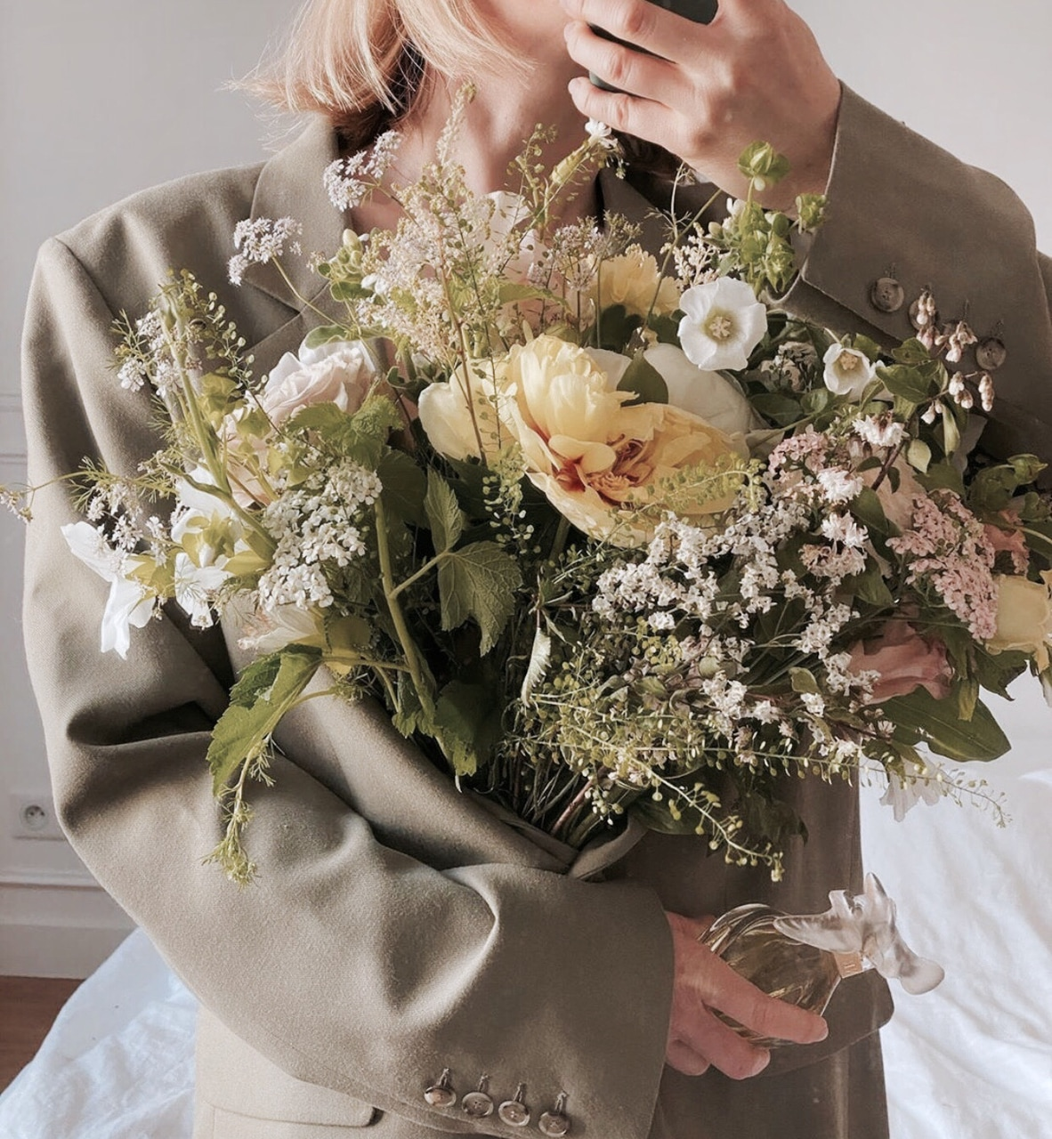 flowers, blazer, and bouquet image