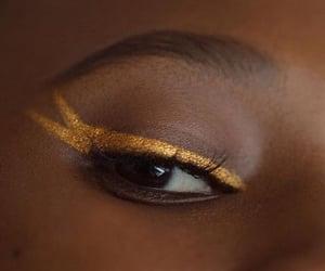 gold, makeup, and eyeliner image