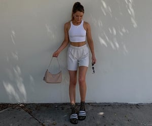 white tank top, summer outfit, and white crop top image