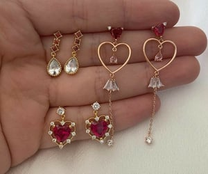 gold, diamond, and earrings image