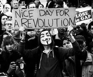 revolution, black and white, and mask image