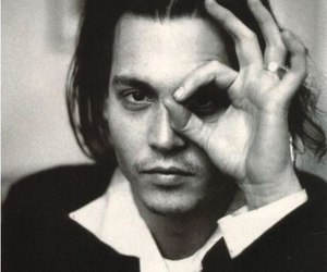 johnny depp, black and white, and depp image