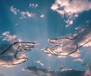 hands, sky, and blue image