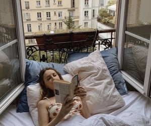 girl, book, and paris image