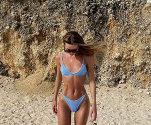 bikini, blue, and tan image