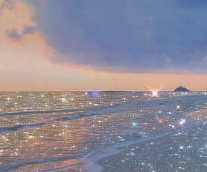 beach, ocean, and glitter image