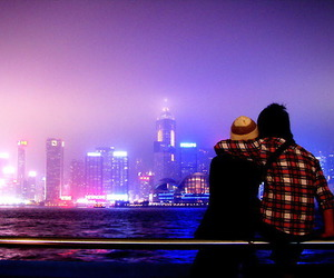 love, couple, and city lights image