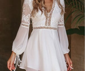 WHITE EMBROIDERED LEAF CROCHET BOHO DRESS