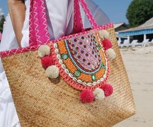beach wear, beach bag, and vacation image