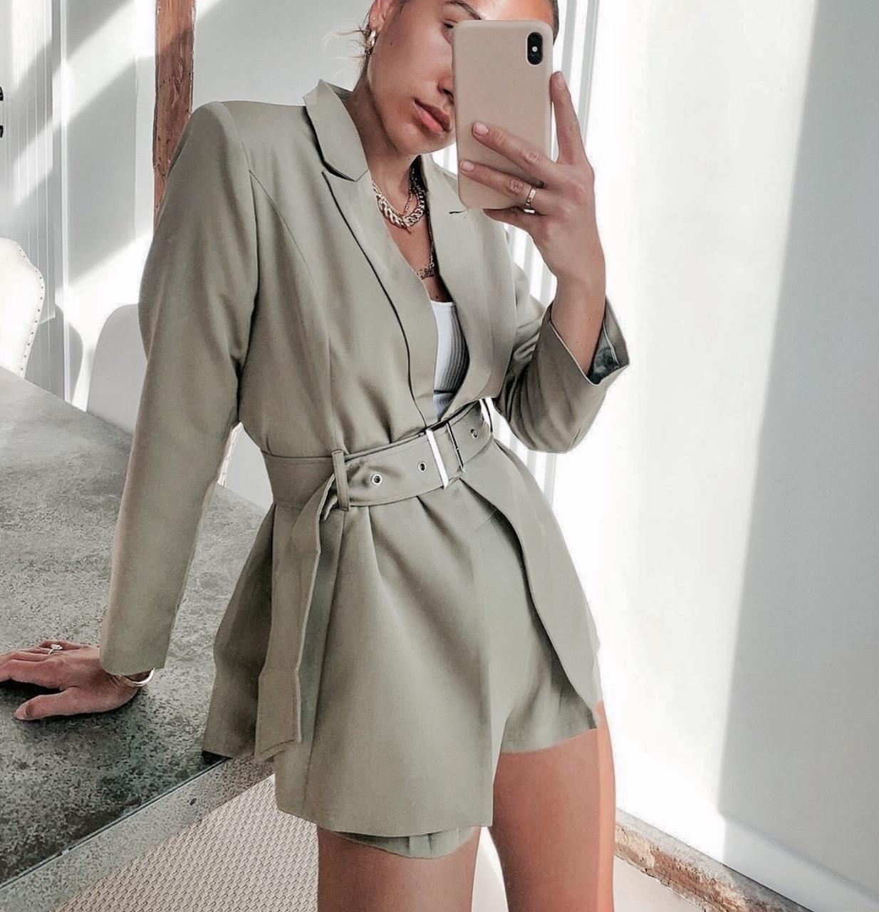fashion, belt, and blazer image