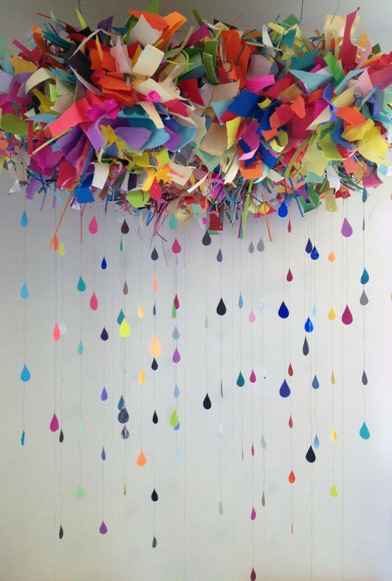 Now, this is a super cool DIY craft. How amazing this multicolor cloud is looking. Not to miss the multicolour raindrops attached by a fine string!