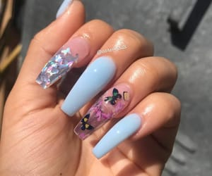 nails, butterfly, and blue image