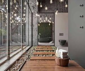 bath tub, home, and home interior image