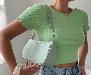 pastel colours, green crop top, and cute summer outfit image