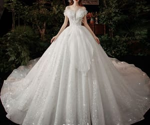 bridal, glitter tulle, and bridal gown image