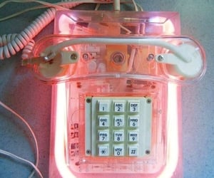 pink, phone, and telephone image