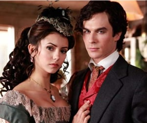 the vampire diaries, Nina Dobrev, and damon salvatore image