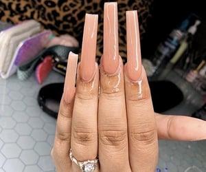 acrylics, extra long nails, and diamond ring image