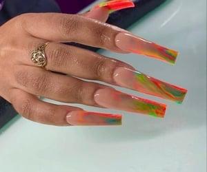 acrylics, tye dye nails, and extra long nails image