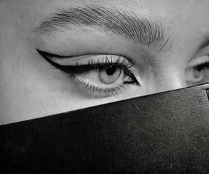 makeup, beauty, and black and white image