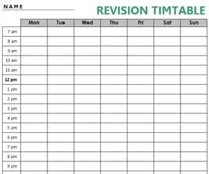 revision timetable, study timetable, and study revision timetable image
