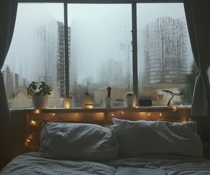 rain, bedroom, and bed image