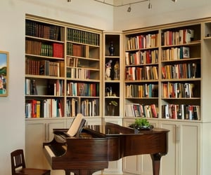 books, piano, and home image