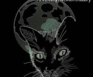 embroidery, cat art, and cat pattern image