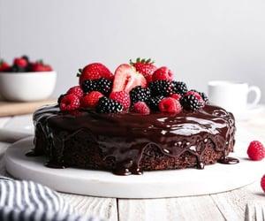 cake, raspberry, and strawberry image