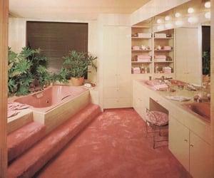 pink, vintage, and bathroom image