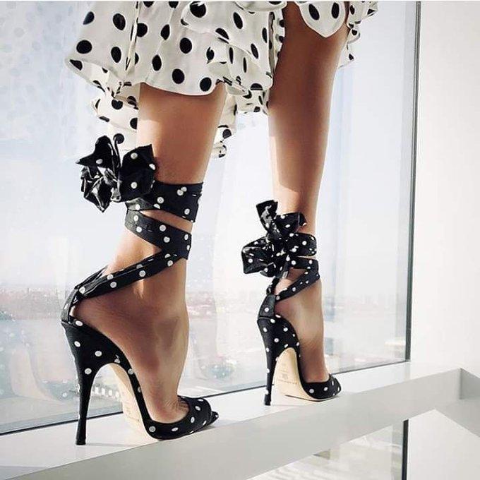 fashion, polka dots, and shoes image