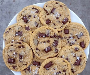 chocolate chip cookies, desserts, and food image