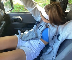 jean shorts, white headband, and car pictures image