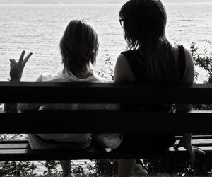 black and white, girl, and peace image