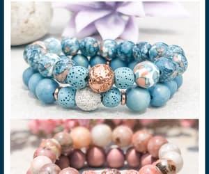 beaded bracelets, pink bracelet, and blue bracelet image