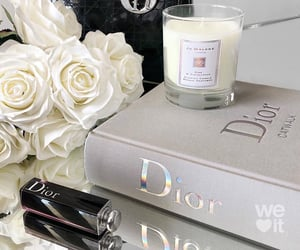 flowers, candles, and dior image