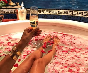 bathtub, champagne, and drink image