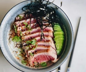 avocado, rice bowl, and fish image