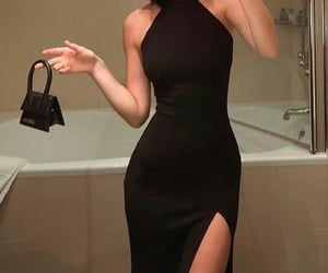 black dress, dress, and girl image