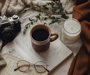 coffee, candle, and fall image
