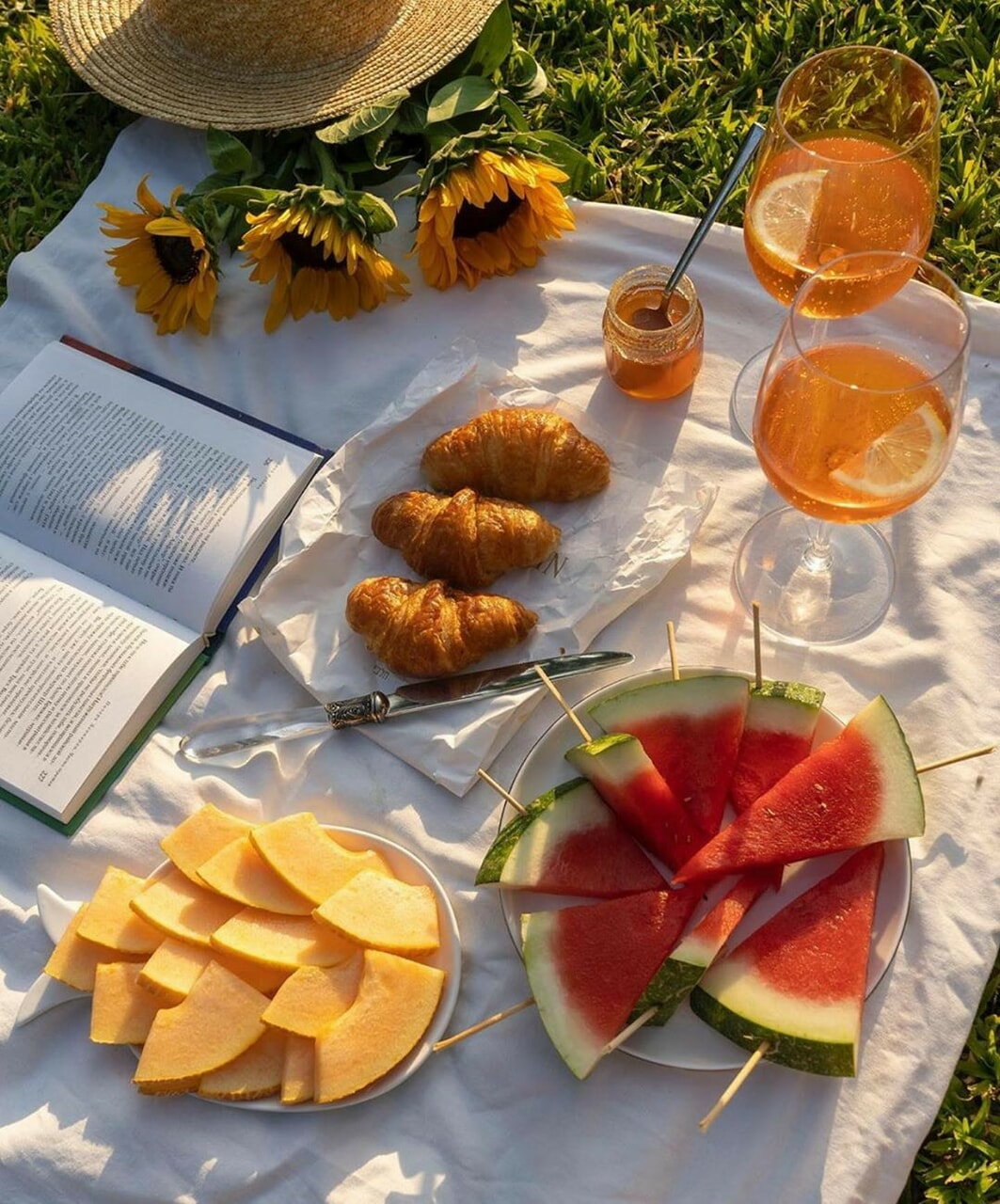 picnic, book, and croissant image