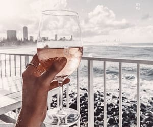 beach, building, and champagne image