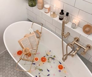 bath, flowers, and home image